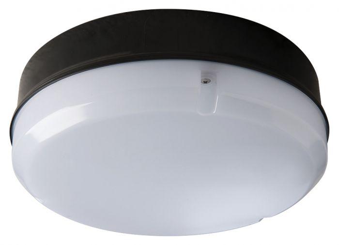 Image of Avenue LED Round Emergency Bulkhead 290mm 1150lm 12W 4000K IP65 Black Opal