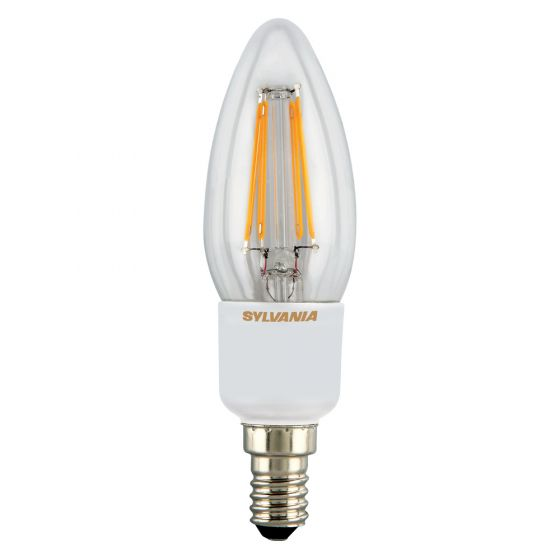 Image of Sylvania 4.5W Dimmable SES E14 LED Filament Candle Bulb Warm White 2700K