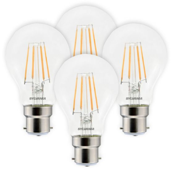 Image of Sylvania 4.5W BC B22 LED Filament GLS Bulbs Warm White 2700K 4 Pack