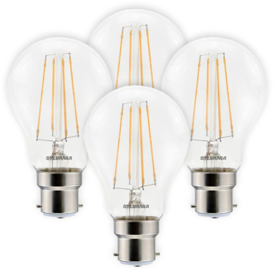 Image of Sylvania 7W BC B22 LED Filament GLS Bulbs Warm White 2700K 4 Pack