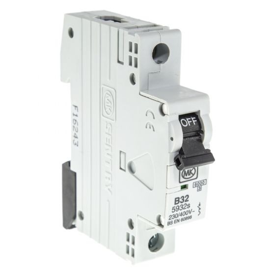 Image of MK Sentry 5932S 32A MCB Type B Single Pole 6kA Single Module