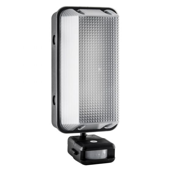 Image of Avenger Outdoor LED Bulkhead with PIR 595lm 8W 4000K LED Black IP65