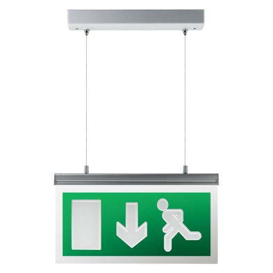 Image of Avenger LED Suspended Emergency Exit Sign Arrow Down Maintained