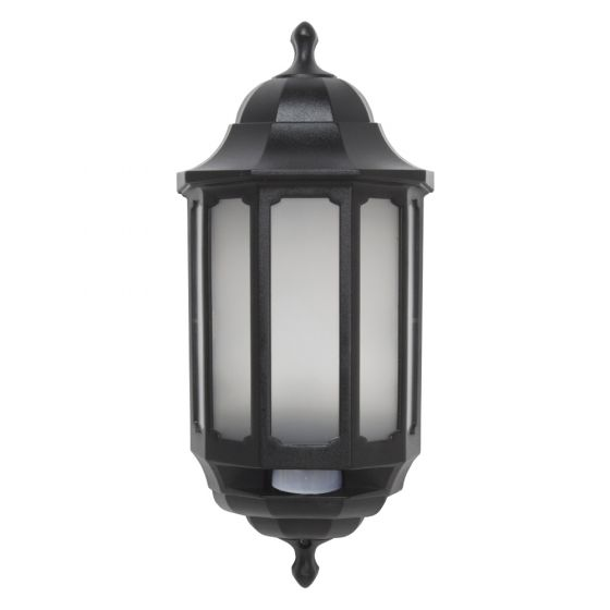 Image of Avenger LED Outdoor Half Lantern Light Hi Lo PIR 8W Cool White Black Opal
