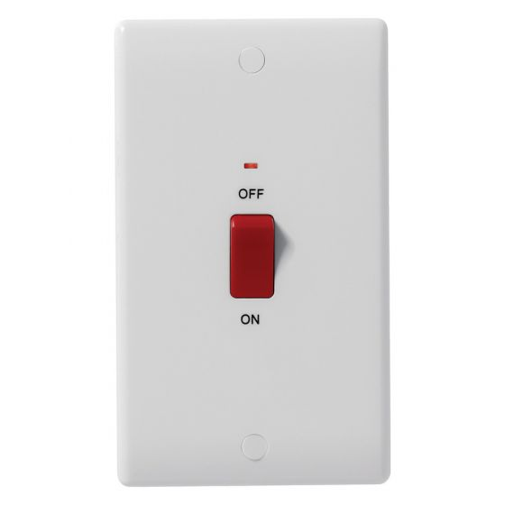 Image of Avenue Contour 45A Cooker Switch 2 Gang Double Pole with Neon White