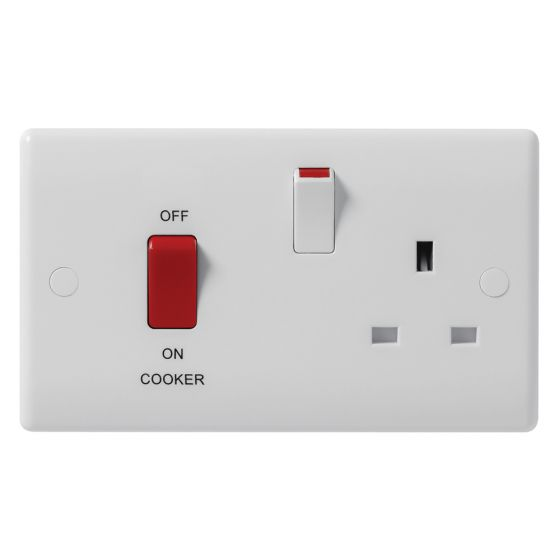 Image of Avenue Contour Cooker Unit 45A Switch and Socket DP White