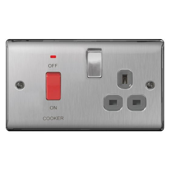 Image of Avenue Raised Cooker Unit 45A Switch and Socket DP Neon Brushed Steel
