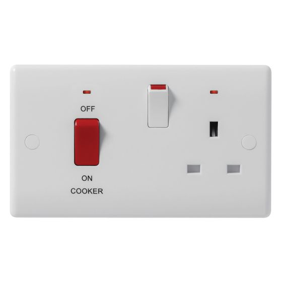 Image of Avenue Contour Cooker Unit 45A Switch and Socket DP Neon White
