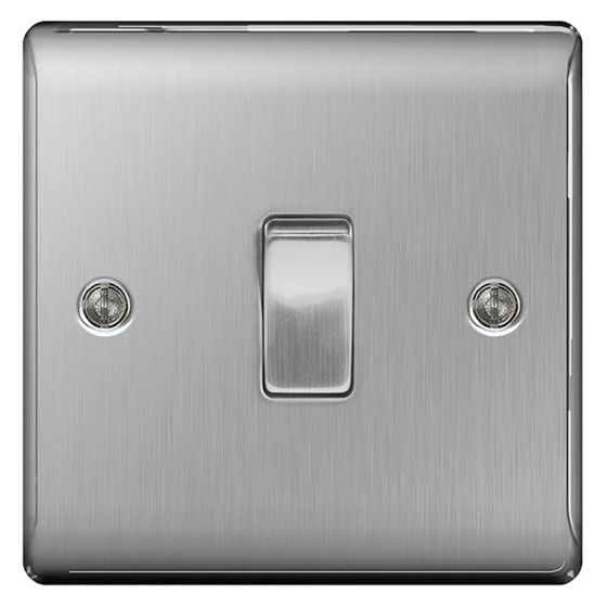 Image of Avenue Raised Light Switch 1 Gang 2 Way 10AX Inductive Brushed Steel