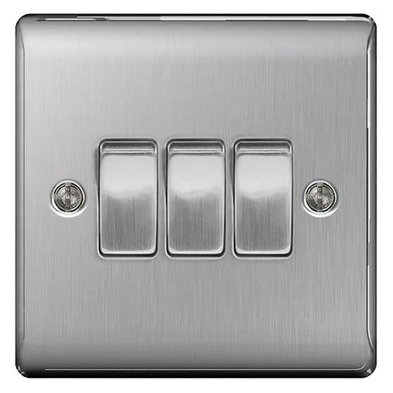 Image of Avenue Raised Light Switch 3 Gang 2 Way 10AX Inductive Brushed Steel