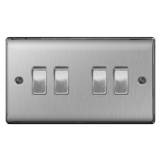 Image of Avenue Raised Light Switch 4 Gang 2 Way 10AX Inductive Brushed Steel
