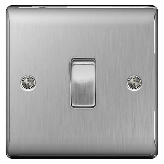 Image of Avenue Raised Intermediate Switch 10AX 1 Gang Brushed Steel