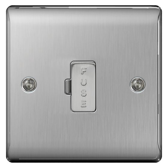 Image of Avenue Raised Unswitched Fused Spur 13A Double Pole Brushed Steel