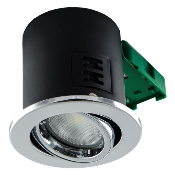 Image of Avenue GU10 Downlight Tilt Polished Chrome Fire Rated No Lamp IP20