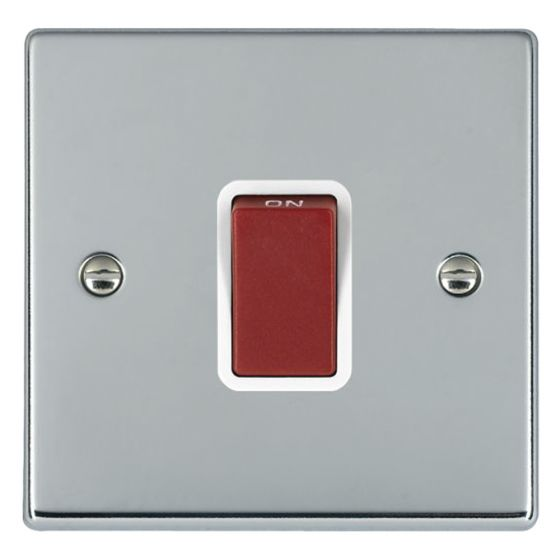 Image of Avenue Slim 45A Cooker Switch 1 Gang Double Pole Polished Chrome White
