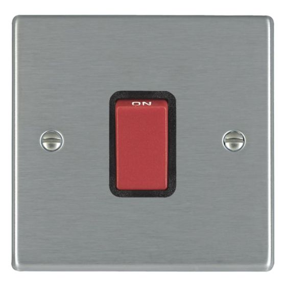 Image of Avenue Slim 45A Cooker Switch 1 Gang Double Pole Satin Steel Black
