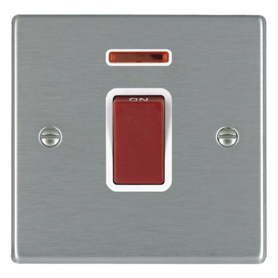 Image of Avenue Slim 45A Cooker Switch 1 Gang Double Pole Neon Satin Steel White