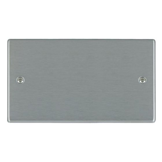 Image of Avenue Slim Double Blank Plate 2 Gang Satin Steel
