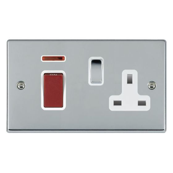 Image of Avenue Slim Cooker Unit 45A Switch and Socket DP Polished Chrome White