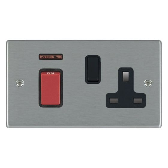 Image of Avenue Slim Cooker Unit 45A Switch and Socket DP Satin Steel Black