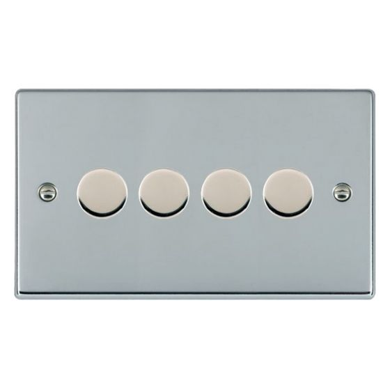 Image of Avenue Slim Push Dimmer Switch 4 Gang 400W 2 Way Polished Chrome