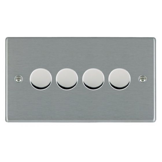 Image of Avenue Slim Push Dimmer Switch 4 Gang 400W 2 Way Satin Steel
