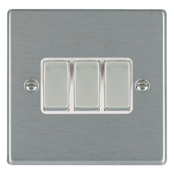 Image of Avenue Slim Light Switch 3 Gang 2 Way 10AX Satin Steel White
