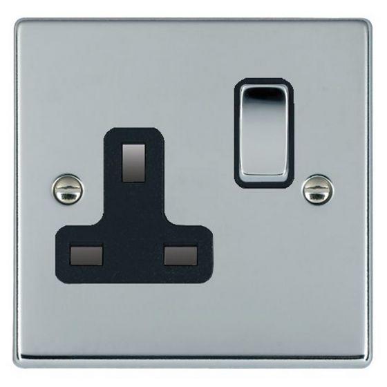 Image of Avenue Slim Switched Socket 1 Gang 13A Double Pole Polished Chrome Black
