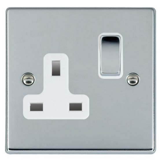 Image of Avenue Slim Switched Socket 1 Gang 13A Double Pole Polished Chrome White