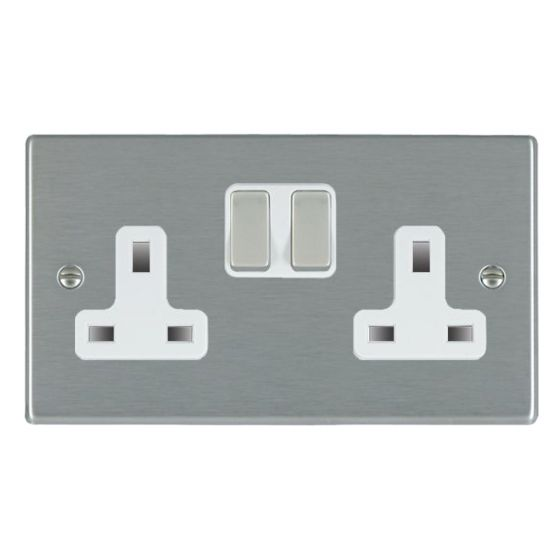Image of Avenue Slim Switched Socket 2 Gang 13A Double Pole Satin Steel White