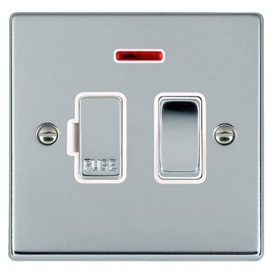 Image of Avenue Slim Switched Fused Spur 13A DP Neon Polished Chrome White