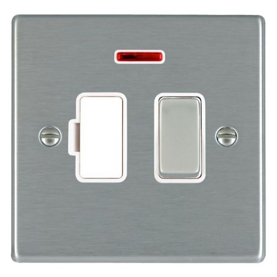 Image of Avenue Slim Switched Fused Spur 13A DP Neon Satin Steel White
