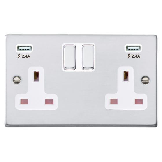 Image of Avenue Slim USB Socket 2 USB 2 Gang 13A Switched DP Polished Chrome White