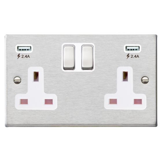 Image of Avenue Slim USB Socket 2 USB 2 Gang 13A Switched DP Satin Steel White
