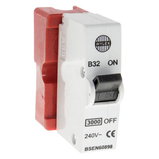 Image of Wylex B32 Plug In 32A MCB Standard Range Single Pole Red Base