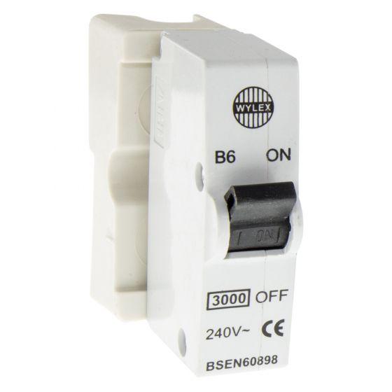 Image of Wylex B6 Plug In 6A MCB Standard Range Single Pole White Base