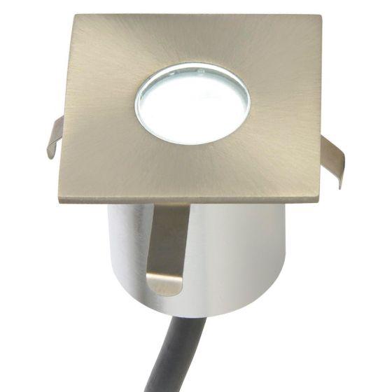 Image of Forum Square LED Plinth Light 180lm 0.5W 6000K Brushed Steel