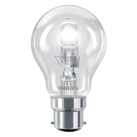 Image of Philips 25189002 70W BC B22 Eco Halogen GLS Light Bulb Warm White 2800K