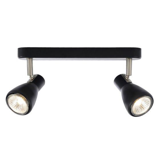 Image of Inlight Curtis Twin Bar GU10 Indoor Spotlight Black Steel