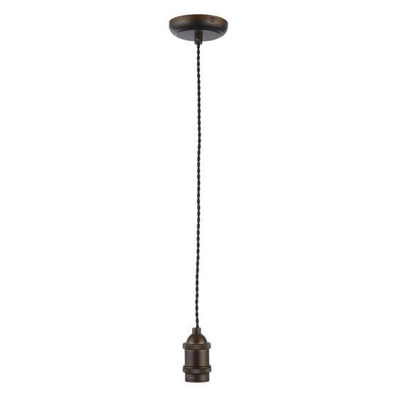 Image of Inlight Decorative Pendant E27 Bronze Lampholder Black Cable