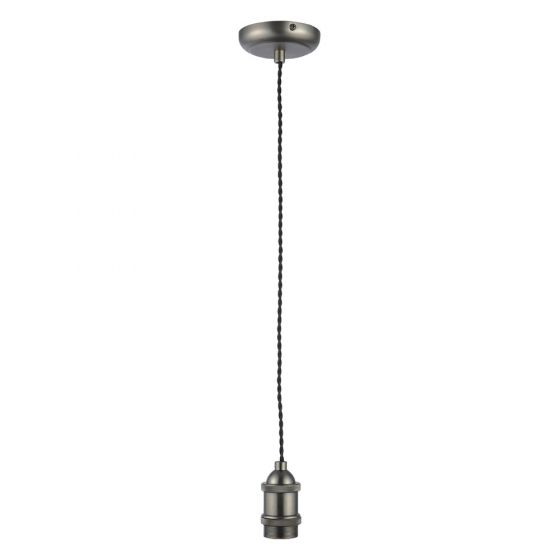 Image of Inlight Decorative Pendant E27 Pewter Lampholder Black Cable