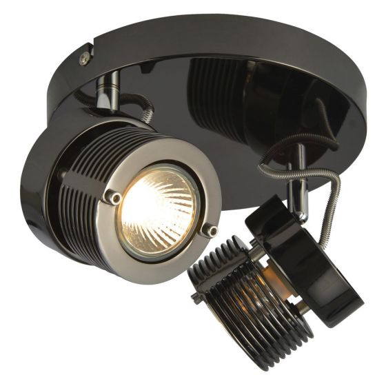 Image of Inlight Pedro Twin Plate GU10 Indoor Spotlight Black Chrome Steel