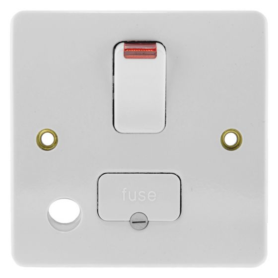 Image of MK Logic K1070WHI Switched Fused Spur 13A DP Front Flex Outlet Neon White