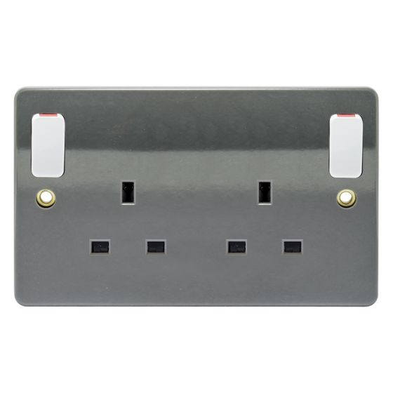 Image of MK Logic K2746GRA Switched Socket 2 Gang 13A Double Pole Dual Earth Graphite