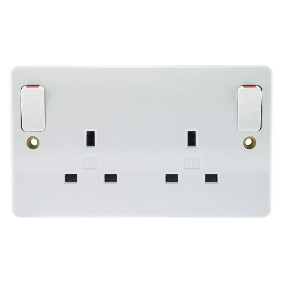 Image of MK Logic K2746WHI Switched Socket 2 Gang 13A Double Pole Dual Earth White