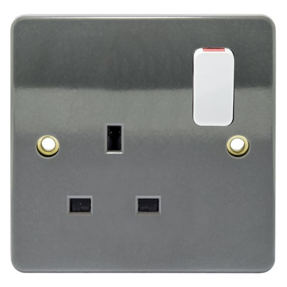 Image of MK Logic K2757GRA Switched Socket 1 Gang 13A Double Pole Dual Earth Graphite