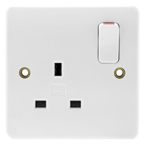 Image of MK Logic K2757WHI Switched Socket 1 Gang 13A Double Pole Dual Earth White