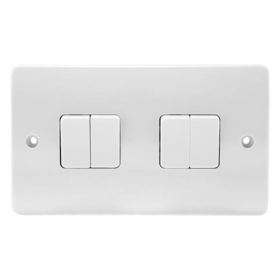 Image of MK Logic K4874WHI Light Switch 4 Gang 2 Way 10AX Single Pole White