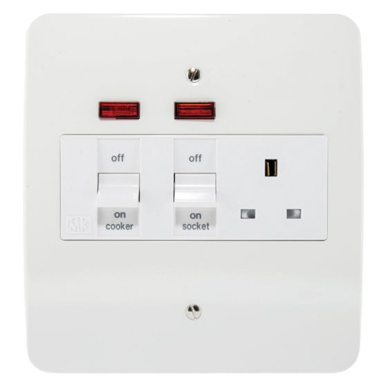 Image of MK Logic K5011WHI Metal Cooker Unit 45A Switch and Socket DP Neon White