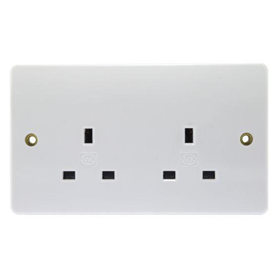 Image of MK Logic K781WHI Unswitched Socket 2 Gang 13A Single Pole White